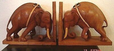 Vintage Pair Of Hand Carved Solid Wood Elephant Bookends