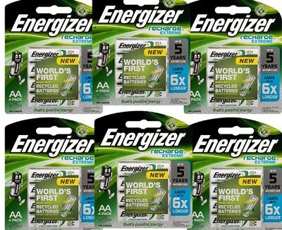 24 ENERGIZER RECHARGEABLE AA BATTERIES (4 x 6 PACKS)