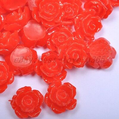 20pcs Red Gorgeous Rose Flower Coral Resin Spacer Beads 10MM