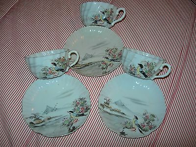 SET of  3 ANTIQUE CUPS & SAUCERS : JAPANESE 19th Century