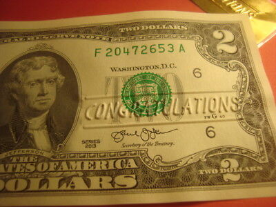 CRISP New Uncirculated USA $2.00 TWO Dollar CONGRATULATIONS embossed Note   GIFT