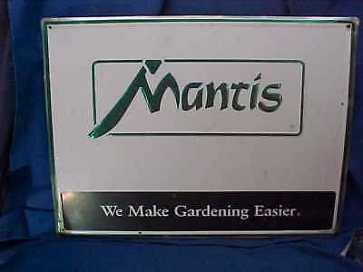 1980s MANTIS LAWN EQUIPMENT Tin Lithograph ADVERTISING SIGN
