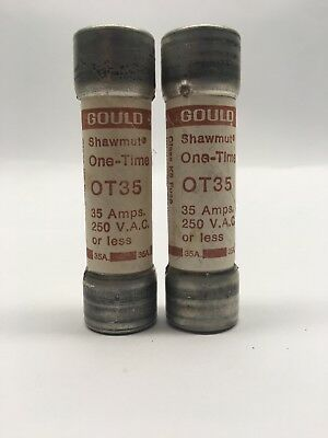 2- Gould Shawmut OT35 One-Time Fuse 35Amp 250VAC Class-K5 Fuse 35A NOS
