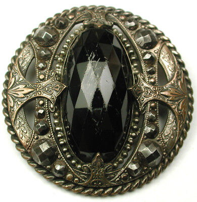 """Antique Gay 90's Button Onyx Color Oval Jewel w Steel Accented Border 1 & 11/16"""""""