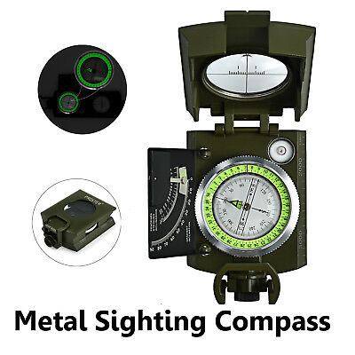 Military Army Metal Sighting Compass Clinometer Camping Hiking Professional NEW