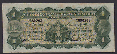 Kell / Collins - 1926 :Commonwealth of  Australian One Pound Paper Banknote, V/F