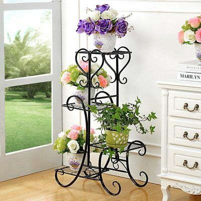 4 Tier Metal Plant Stand Garden Decorative Planter Holder Flower Pot Shelf Rack