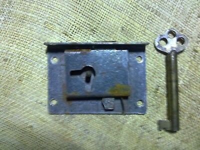 Victorian drawer or cupboard lock, 57 mm, antique (CB4)