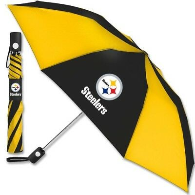 """Pittsburgh Steelers 42"""" Automatic Folding Collapsible Umbrella Team Logo Colors"""