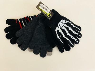 NEW Skeleton, Stripe, Gray 3-Pk Gloves Set Boys 8-20 - Includes 1 Texting Glove