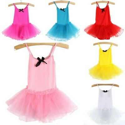 2-7Y Toddler Girls Kids Ballet Dance Dress Chiffon Leotard Tutu Dress Costume US