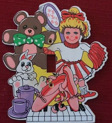 Baby Wooden Nursery Toy Bed Room Bear Bunny Light Switch Electric Cover Plate