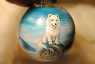 Original Painting~Samoyed~Dog~Christmas Ornament~Hand Painted~Whimsical~art~SALE