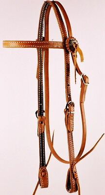 Western Harness Leather Browband Horse Bridle with Tie Ends and Conchos NEW