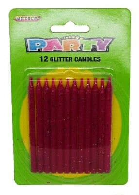 Pink Glitter Candles Pack Of 12 Birthday Party Supplies Cake Topper