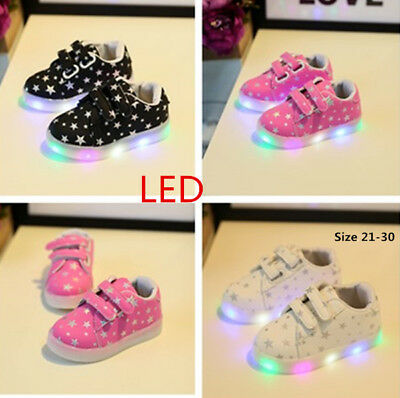 Fashion LED Kids Boy Girls Casual Shoes Baby Light Up Luminous Shoes With Stars