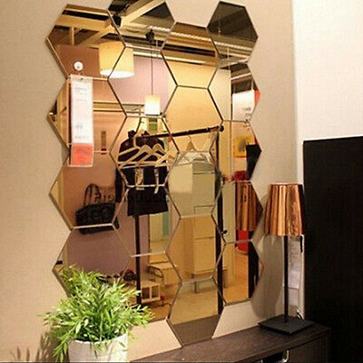 CO_ 12Pcs Mirror Hexagon Removable Acrylic Wall Stickers Art DIY Home Decor Sple