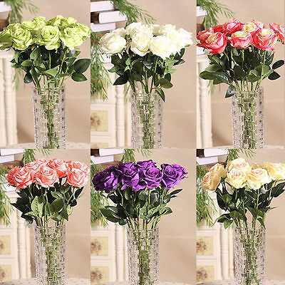 CO_ Home Rose Craft Centerpiece Silk Flowers Decor Party Wedding Bridal Gift Ple