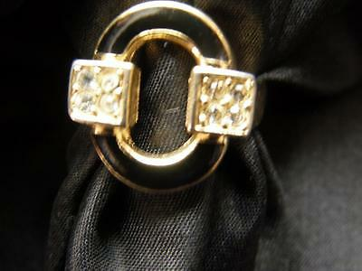 ART DECO STYLE BLACK ENAMEL + RHINESTONE RING us 6 uk M