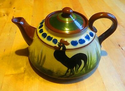 Large Longpark Torquay Pottery Black Cockerel Design Mottoware Teapot Xmas Gift