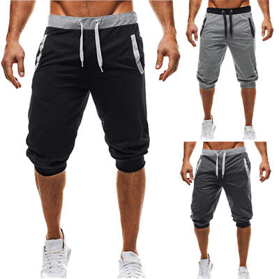 INCERUN Mens Casual Jogging Sweatpants Jogger Gym Baggy 3/4 Knee Shorts Trousers