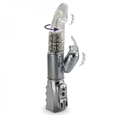 Vibromasseur Rabbit Rotatif Silver Pleasure