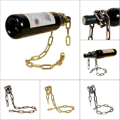 Creative Floating Chain Wine Bottle Holder Illusion Rack Stand Display Champagne