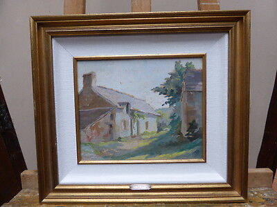 Oil On Board Old Cottage French  Artist M Salettes Free Shipping To England