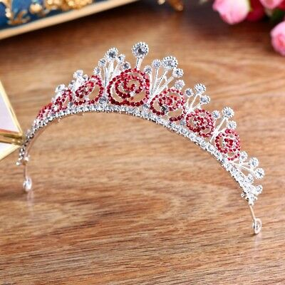 5cm High Red Flower Clear Crystal Tiara Crown Wedding Bridal Prom Party Pageant