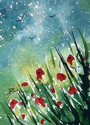 ACEO Original Art Watercolour Painting by Bill Lupton - Flower Bed