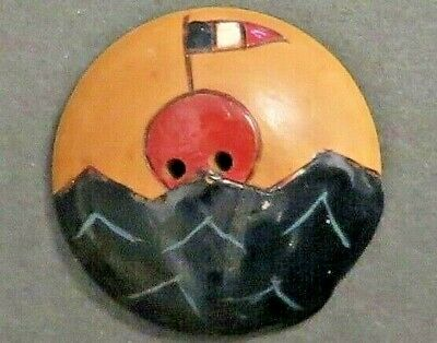 Antique Vintage Wooden Button - Hand Painted, French Flag Floating on Sea