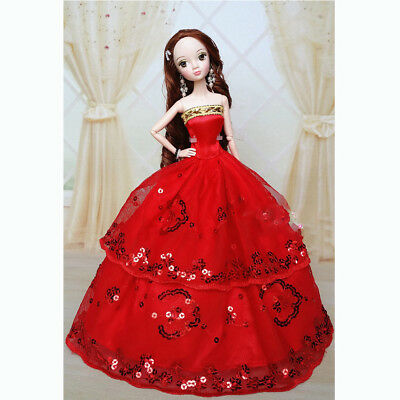 Red Handmade Wedding Gown Dresses Clothes Girl Party For Princess Barbie Doll