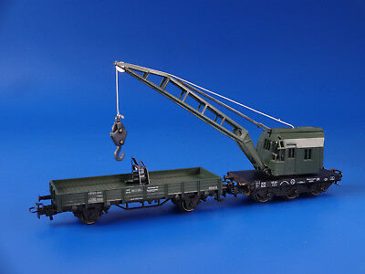 MARKLIN H0 - 4671 - Green Crane Car + Flat Wagon / EXC