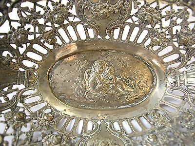 A Fine Antique Solid Silver Basket-Decorated With A Scene In Center And Around