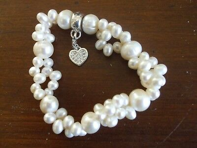 Thomas Sabo Pearl Bracelet with Silver Heart Clip