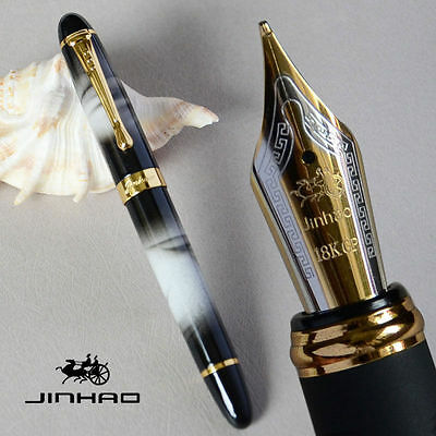 Jinhao X450 Black with White Cloud Fountain Pen 0.7mm Broad Nib 18KGP Golden Tri