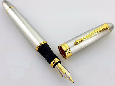 Jinhao X450 Silver and Good Fountain Pen 0.7mm Broad Nib 18KGP Golden Trim