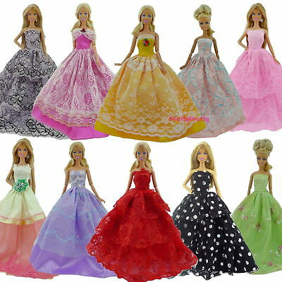 Soft Handmade Wedding Dress Party Gown Clothes Costume Outfits For Barbie Doll