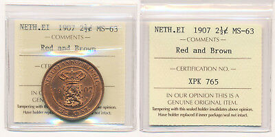 1907 Netherlands East Indies 2 1/2¢ (Iccs Mint State Red/brown Beauty) No Rsrv