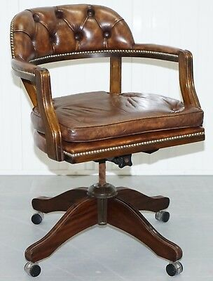 1967 Stamped Chesterfield Admirals Court Captains Brown Leather Cushioned Base