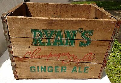 Vintage 40s 50s Niagara Falls NY Area Johnnie Ryan Wooden Ginger Ale Soda Crate