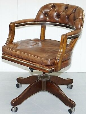 Exceptional 1967 Stamped Chesterfield Admirals Court Captains Brown Leather
