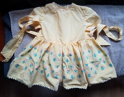 Vintage 1950's Girls Dress Yellow w/ Embroidered Flowers and White Trim NICE!!