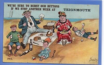 Stocker Shaw Artist Signed 1923 Postcard Family On Beach Picnic At Teignmouth