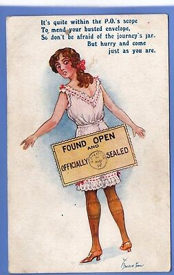Stocker Shaw Artist Signed Postcard Woman Underwear Found Open And Sealed