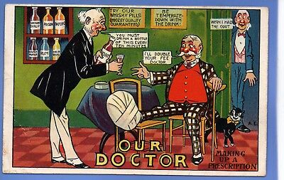 A.e. Artist Signed Postcard Our Doctor Man In Plaster Getting Drunk On Port