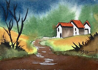 ACEO Original Art Watercolour Painting by Bill Lupton - Location