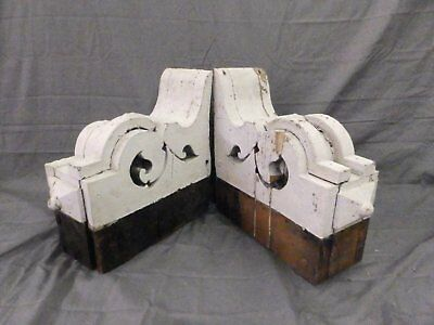 Large Pair Antique Corbels Roof Brackets Victorian Shabby Shelf Vtg Chic 553-17P