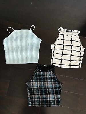 Lot of 3 Missguided Women cute crop tops party holiday size XS / S