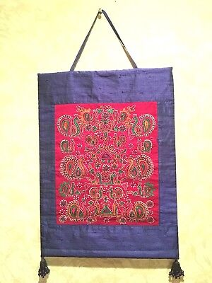 Hand Embroidered Silk Tapestry Wall Hanging from India